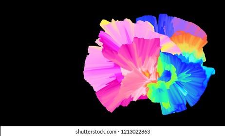 Color explosion. Paint splash. Abstact wallpaper. Multicolor glow. Neon. Fractal. Digital art. Fairy. Futuristic. Surreal. Cosmic. Glitch. 3d illustration. Imagination. Creative.