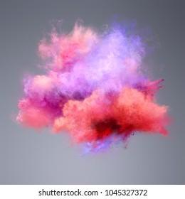Color explosion of powder. Freeze motion of powder exploding. Illustration