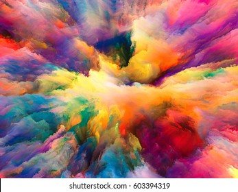 Color Explosion series. Abstract design made of fractal paint and rich texture on the subject of imagination, creativity and art