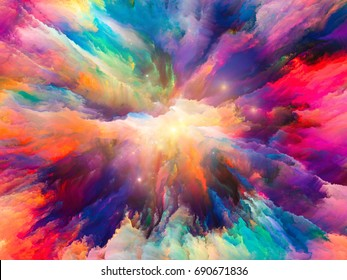 Color Explosion series. Background design of fractal paint and rich texture on the subject of imagination, creativity and art