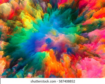 Color Explosion series. Composition of  fractal paint and rich texture for projects on imagination, creativity and art