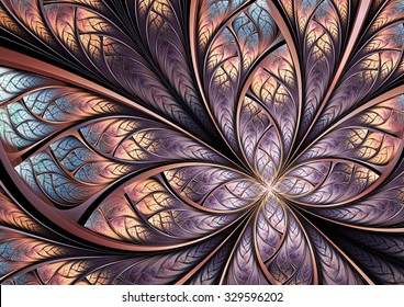 Color fantasy artistic flower. Beautiful abstract background for wallpaper, interior, album, flyer cover, banner, booklet. Fractal artwork for creative vintage graphic design