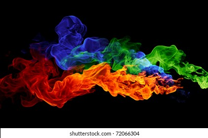 color fire - red, blue & green flames on a black background