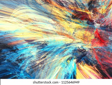 Color fireworks. Bright artistic splashes. Abstract painting multicolor texture. Modern futuristic pattern. Dynamic background. Fractal artwork for creative graphic design
