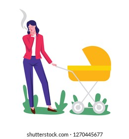 Color  flat style illustration. Young mother walks with a stroller. Woman with a child smokes a cigarette. Conceptual poster about the dangers of passive smoking. Smoking mother with a baby