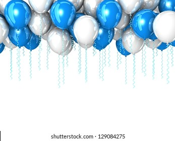 Color flying balloons isolated on white. Background with colorful balloons. 3d Design