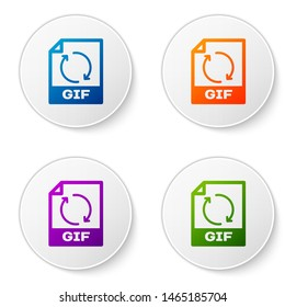 Color GIF file document icon. Download gif button icon isolated on white background. GIF file symbol. Set icons in circle buttons