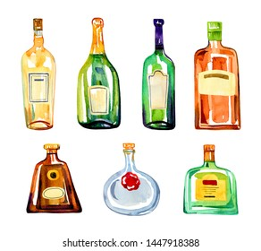 Color glass alcohol bottles with lables. Watercolor hand drawn sketch illustration set on white background