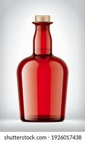 Color Glass Bottle on background. 3d rendering