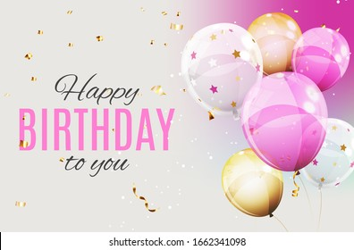 Color Glossy Happy Birthday Balloons Banner Background  Illustration.