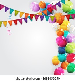 Color Glossy Happy Birthday Balloons Banner Background  Illustration
