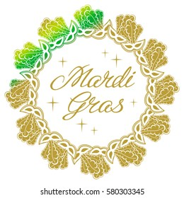 """Color gradient label with carnival masks and artistic written text """"Mardi Gras"""".  Raster clip art."""