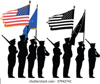 Color guard of the United States with the National Flag