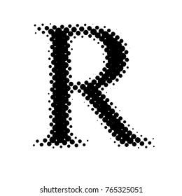 Color Halftone Letter R Simple Illustration On White Background