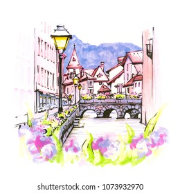 Color hand drawing, city view of the Palais de l'Isle and Thiou river in old city of Annecy, Venice of the Alps, France. Picture made markers