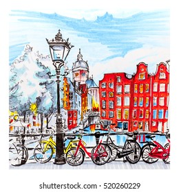Color hand drawing, city view of Amsterdam typical houses, Holland, Netherlands. Picture made markers
