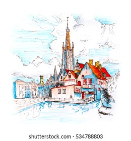 Color hand drawing, picturesque city landscape with a lake, Old St. John's Hospital and the Church of Our Lady in Bruges, Belgium. Picture made liner and markers