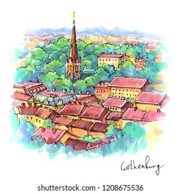 Color hand drawing, scenic aerial view of the Old Town in Gothenburg, Sweden. Picture made markers