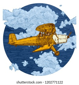 color hand drawn illustration of vintage yellow biplane. Airplane on the blue sky background. Side view.
