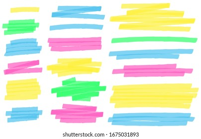 Color highlight marker lines. Colorful markers scribble, highlights line strokes and highlight banner  set. Freehand multicolor scrawls isolated on white. Text underlining and highlights
