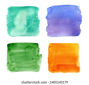 Color highlight stripes, square banners drawn with watercolor. Stylish highlight elements for design. Painted highlight rectangular stroke, spots bright color