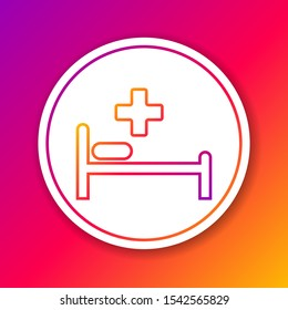 Color Hospital Bed with Medical symbol of the Emergency - Star of Life line icon isolated on color background. Circle white button