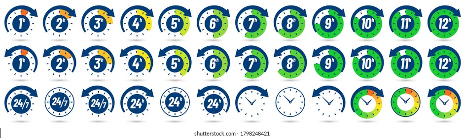 Color hours icon. Timer from 1 to 12 hours, time ago and next label dial with arrow. Clock, 24 7 and 24h available  icons set. Illustration timer hour, clock watch time deadline