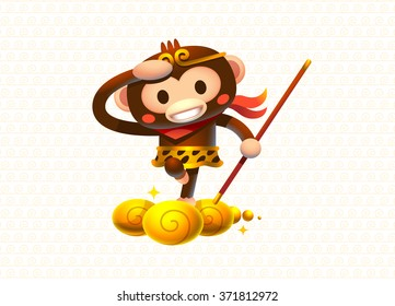 Color illustration of Cute Monkey King Character