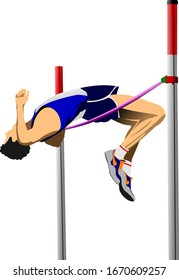 Color illustration of a high jumper isolated on white background