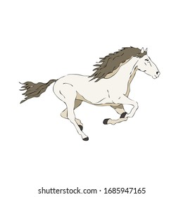 Color illustration of a horse in gallop on white background, can be used as a graphic detail.