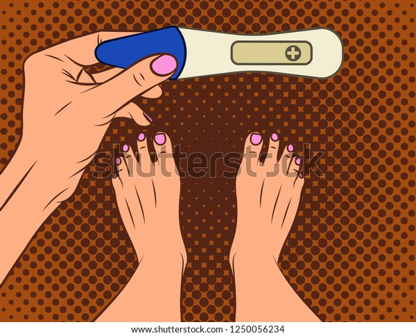 Color  illustration of pop art comic style. A girl makes a pregnancy test. A girl with a positive pregnancy test result. Female hand holds test.  Top view