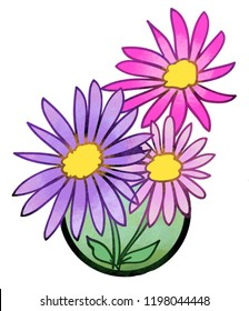 A color illustration showing the pollinator-friendly plant called Aster.