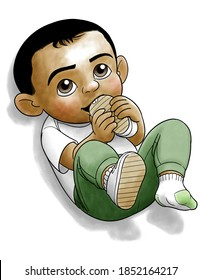 A color illustration of a toddler boy chewing on one of his shoes that he has removed.  He is wearing a white T-shirt, pants, socks, and one remaining shoe.  He has black hair and eyes.