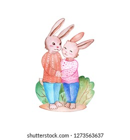 Color illustration illustration of two lovely cute bunnies or rabits whos hugs ich other.