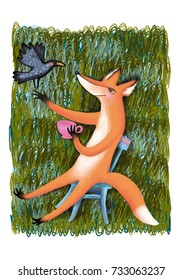 Color illustrations. Fox drinking tea talking to a crow.