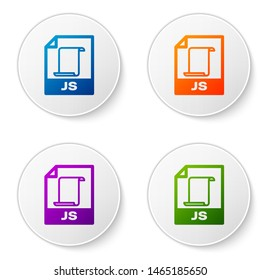 Color JS file document icon. Download js button icon isolated on white background. JS file symbol. Set icons in circle buttons