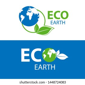 Color label of ECO earth on white and blue background.   illustration of symbol of ecology. Planet and eco symbol or icon. Natural, organic logotype design template.