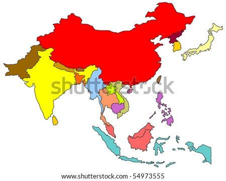 Map Of Southern And Eastern Asia.Royalty Free Stock Illustration Of Color Map South East Asia Stock