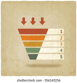 color marketing funnel symbol old background - illustration