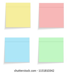 Color memo stikers on white, stock illustration