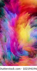 Color In Motion series. Arrangement of Flowing Paint pattern on the subject of design, creativity and imagination to use as wallpaper for screens and devices