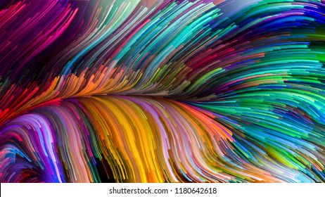 Color In Motion series. Artistic background made of liquid paint pattern for use with projects on design, creativity and imagination to use as wallpaper for screens and devices