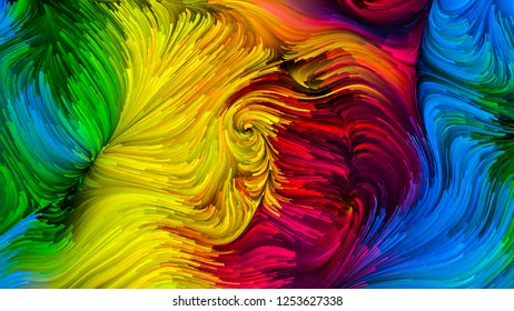 Color In Motion series. Creative arrangement of Flowing Paint pattern as a concept metaphor on subject of design, creativity and imagination to use as wallpaper for screens and devices