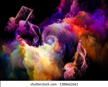 Color of Music series. Background composition of  musical symbols and color paint on the subject of performance arts, music, sound and creativity