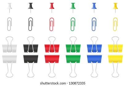 color office paper clip and pushpin illustration isolated on white background