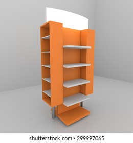 Color orange shelves design on white background