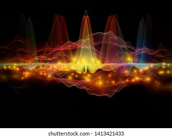 Color Oscillation. Optical Flow series. Composition of color lines and lights isolated on black background in association with technology, design and education