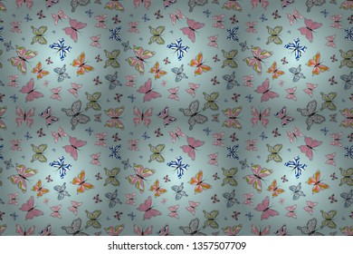 Color outline set of butterfly raster for web design isolated on white, neutral and pink background. Butterfly. Seamless.