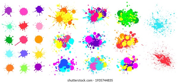 Color paint splatter. Spray paint blot element. Colorful ink stains mess. Watercolor spots in raw, splashes