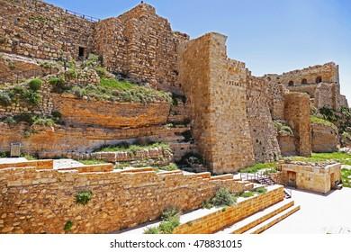 Color Painting Ancient Ruins of The Crusader Castle of Kerak in Al-Karak, Jordan on Sandstone Texture